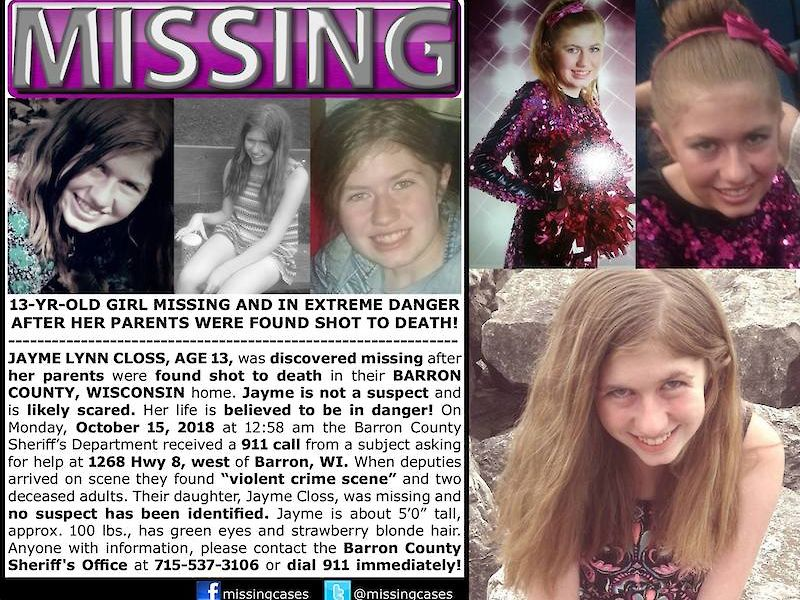 The search for missing Wisconsin teenager Jayme Closs continues