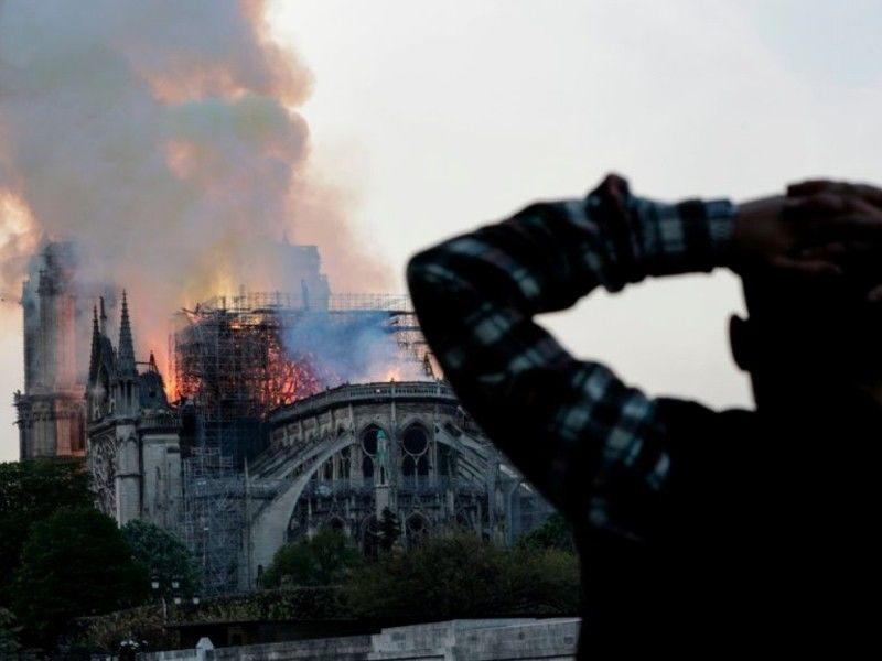 Fire Causes Spire Collapse At Notre-Dame Cathedral In Paris