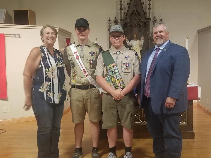 Stafsholt, Schachtner Present Two Eagle Scouts With Citations