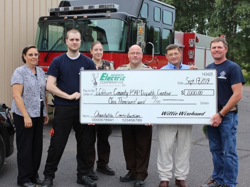 Barron Electric Donates $1K To Washburn Co. Emergency Mgmt Incident Command Post