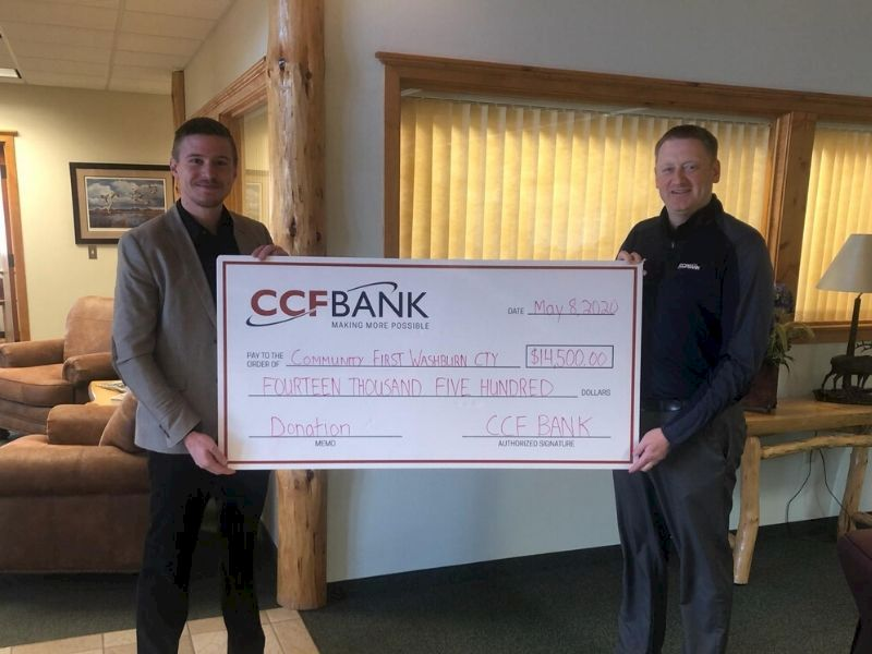 CCF Bank Of Spooner Donates $14,500 To Community First Of Washburn County