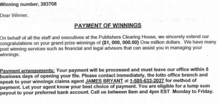 Cumberland Police Dept: This Letter From Publisheru0027s Clearing House Is A  Scam!