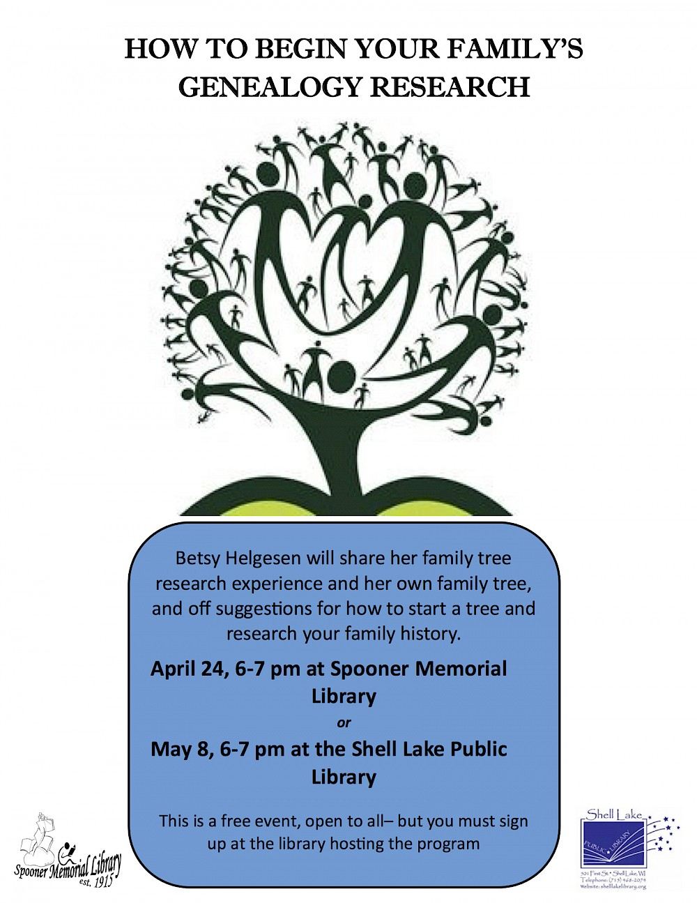 spooner library presents ancestry talk create your own family