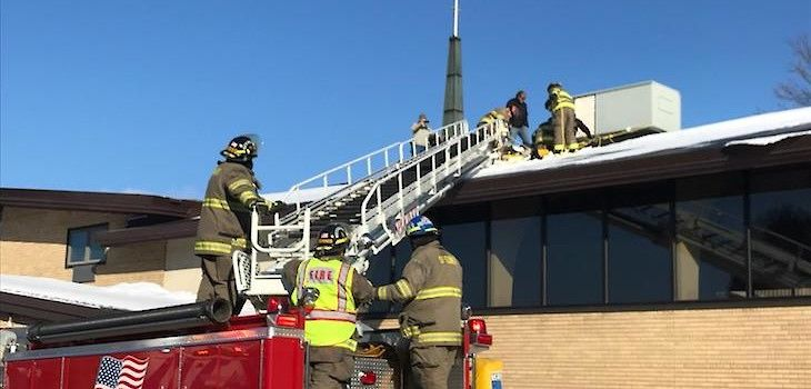 Spooner Fire Department Rescues Injured Man From School Roof