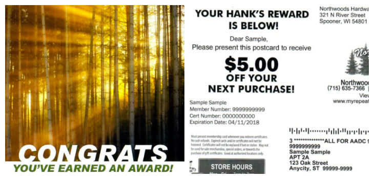 Receive All of These Rewards After Signing Up & Shopping at Northwoods Hardware Hank