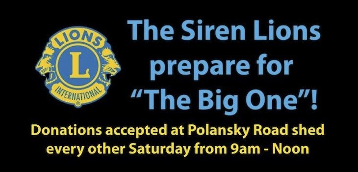 Siren Lions Club Begins Preparations for 'The Big One'!