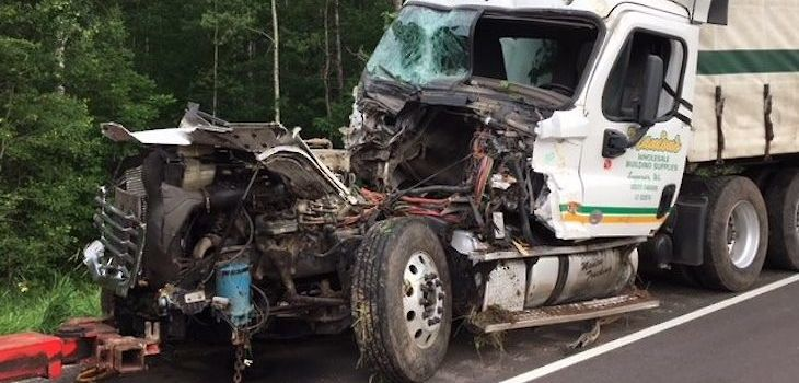 Semi vs Car Crash on HWY 53 Leaves Three Injured