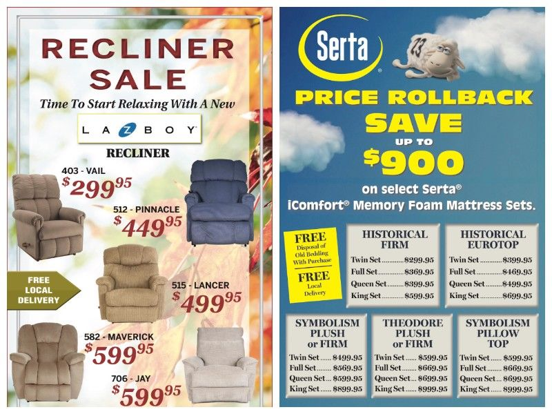 Northwest Wisconsin Furniture Specials from Bush & Gilles!