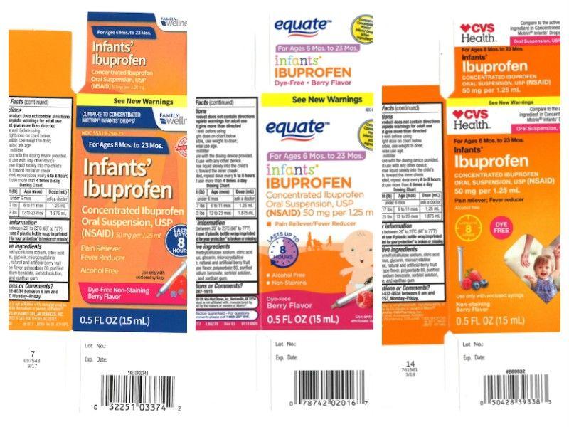 Recalled infants' Ibuprofen sold at Walmart, CVS, Family Dollar