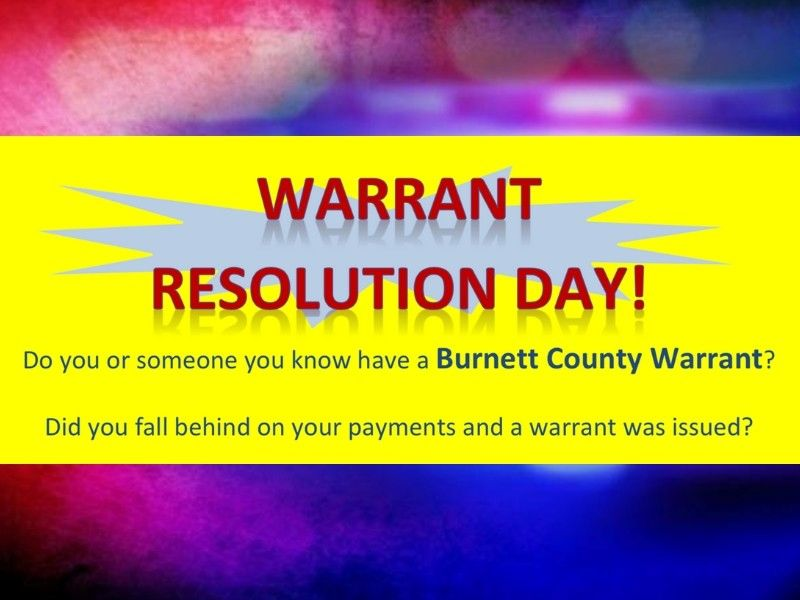 Warrant Resolution Day Set For Burnett County
